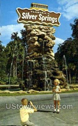 Fountain - Silver Springs, Florida FL Postcard