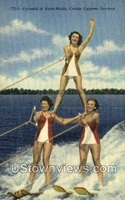 Pyramid of Aqua-Maids - Cypress Gardens, Florida FL Postcard