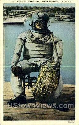 Diver - Tarpon Springs, Florida FL Postcard