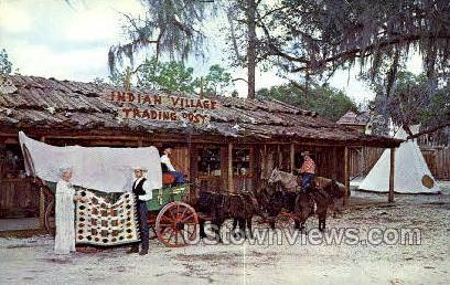 Indian Trading Post - Silver Springs, Florida FL Postcard