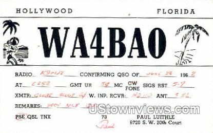 WA4BAO Station - Hollywood, Florida FL Postcard
