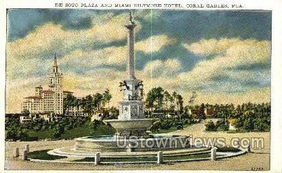 De Soto Plaza - Coral Gables, Florida FL Postcard