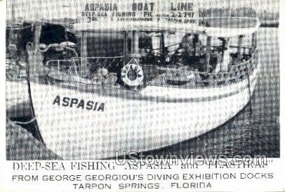 Aspasia Boat Line - Tarpon Springs, Florida FL Postcard