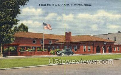 Spring Street - Pensacola, Florida FL Postcard