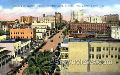 Central Ave - St Petersburg, Florida FL Postcard