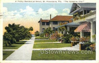 Residential Street - St Petersburg, Florida FL Postcard