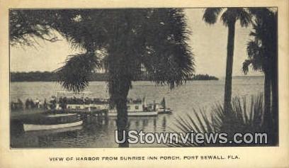 Harbor, Sunrise Inn Porch - Port Sewall, Florida FL Postcard