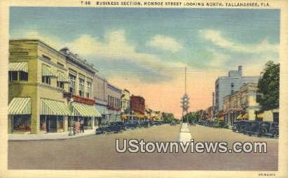 Business Section, Monroe St - Tallahassee, Florida FL Postcard