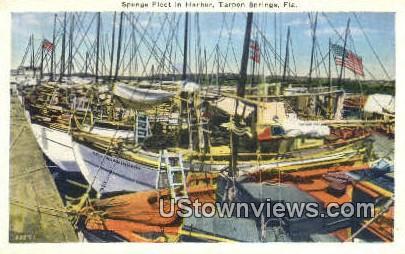 Sponge Fleet - Tarpon Springs, Florida FL Postcard