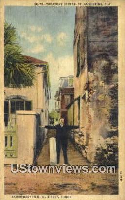 Treasury Street - St Augustine, Florida FL Postcard