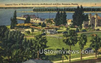 Shuffleboard & Pier - Sarasota, Florida FL Postcard