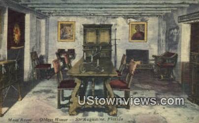 Main Room, Oldest House - St Augustine, Florida FL Postcard