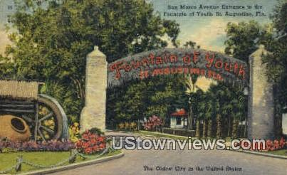 San Marco Ave, Fountain of Youth - St Augustine, Florida FL Postcard
