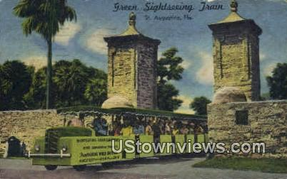 Green Sightseeing Train - St Augustine, Florida FL Postcard