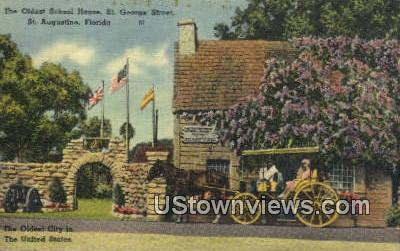 Oldest School House, St George Street - St Augustine, Florida FL Postcard