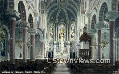 Interior of Catholic Church - Tampa, Florida FL Postcard