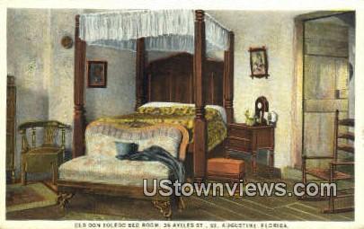 Old Don Toledo Bed Room - St Augustine, Florida FL Postcard