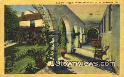 Loggia, Oldest House - St Augustine, Florida FL Postcard