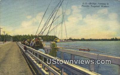Bridge, Fishing - Misc, Florida FL Postcard