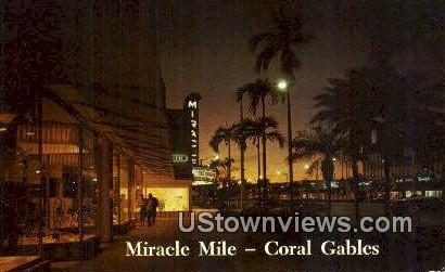Miracle Mile - Coral Gables, Florida FL Postcard