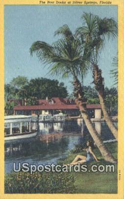 Boat Docks - Silver Springs, Florida FL Postcard