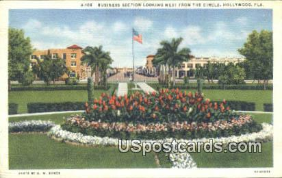 Business Section, Circle - Hollywood, Florida FL Postcard