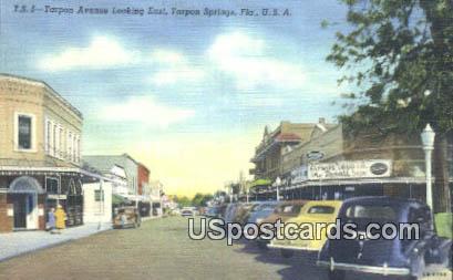 Tarpon Avenue - Tarpon Springs, Florida FL Postcard