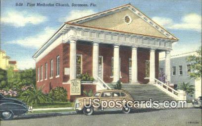 First Methodist Church - Sarasota, Florida FL Postcard