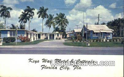 Key Way Motel & Cottages - Florida City Postcards, Florida FL Postcard