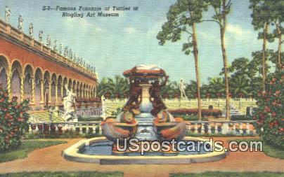Fountain of Turtles, Ringling Art Museum - Sarasota, Florida FL Postcard