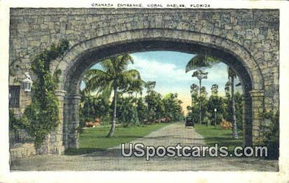 Granada Entrance - Coral Gables, Florida FL Postcard