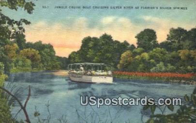 Jungle Cruise Boat - Silver Springs, Florida FL Postcard