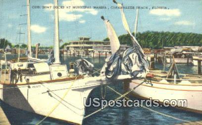 Boat Docks, Municipal Marina - Clearwater Beach, Florida FL Postcard