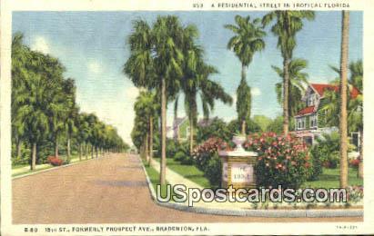 Residential Street - Bradenton, Florida FL Postcard