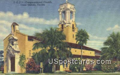 Congregational Church - Coral Gables, Florida FL Postcard
