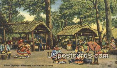 Seminole Settlement - Silver Springs, Florida FL Postcard