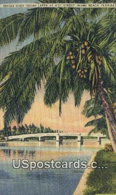 Bridge, Indian Creek - Miami Beach, Florida FL Postcard