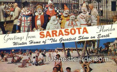 Clowns, Greetings from - Sarasota, Florida FL Postcard