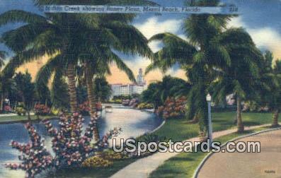 Indian Creek, Roney Plaza - Miami Beach, Florida FL Postcard