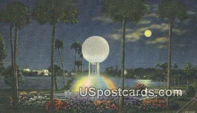 Illuminated Fountain, Lake Ivanhoe - Orlando, Florida FL Postcard