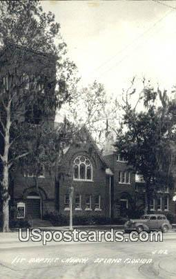 Real Photo - 1st Baptist Church - De Land, Florida FL Postcard