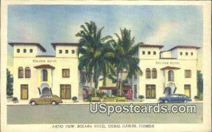 Solana Hotel - Coral Gables, Florida FL Postcard