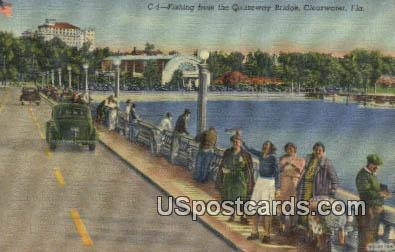 Fishing, Causeway Bridge - Clearwater, Florida FL Postcard