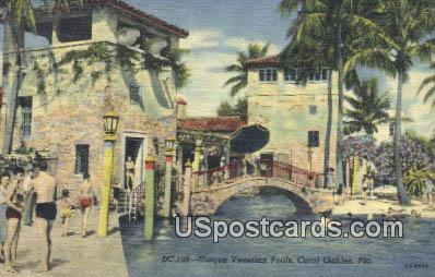 Unique Venetian Pool - Coral Gables, Florida FL Postcard