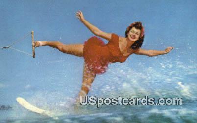 Backward Swan Skiing - Cypress Gardens, Florida FL Postcard
