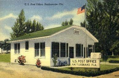 Post Office - Rattlesnake, Florida FL Postcard