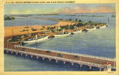 Miami Beach Causeway - Silver Springs, Florida FL Postcard
