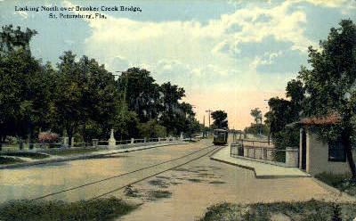 Brooker Creek Bridge - St Petersburg, Florida FL Postcard