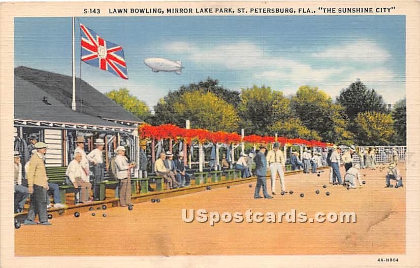 Lawn Bowling, Mirror Lake Park - St Petersburg, Florida FL Postcard