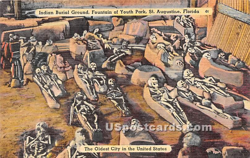 Indian Burial Ground, Fountain of Youth - St Augustine, Florida FL Postcard